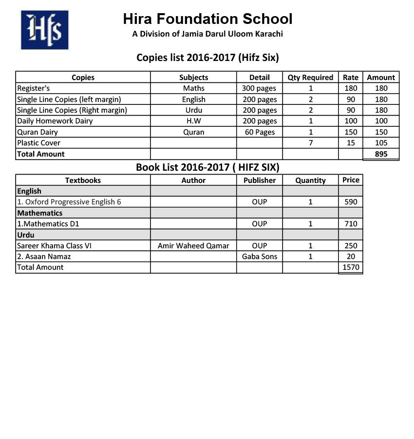 Class SIX HIFZ