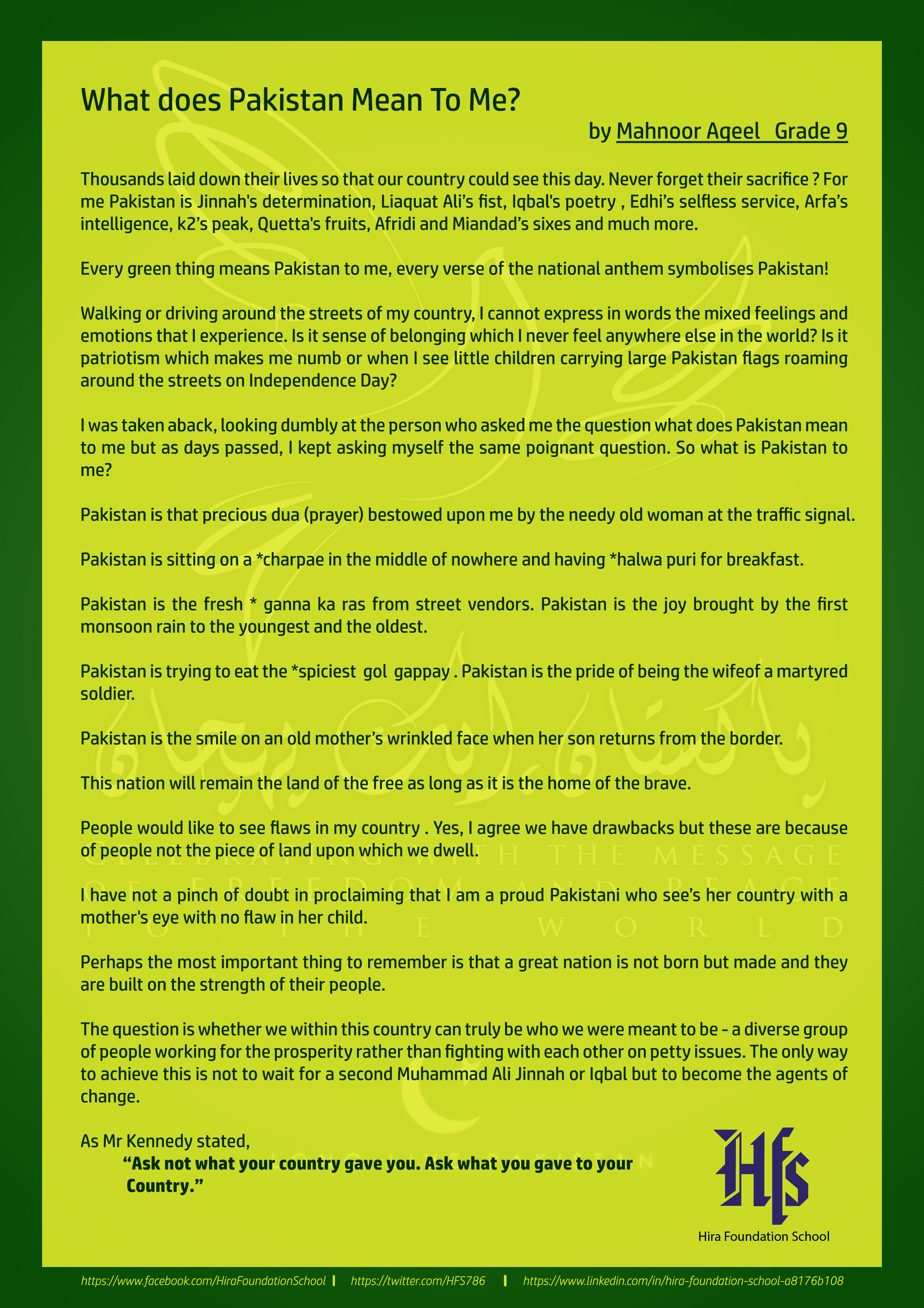 What Does Pakistan Mean To Me Hira Foundation School