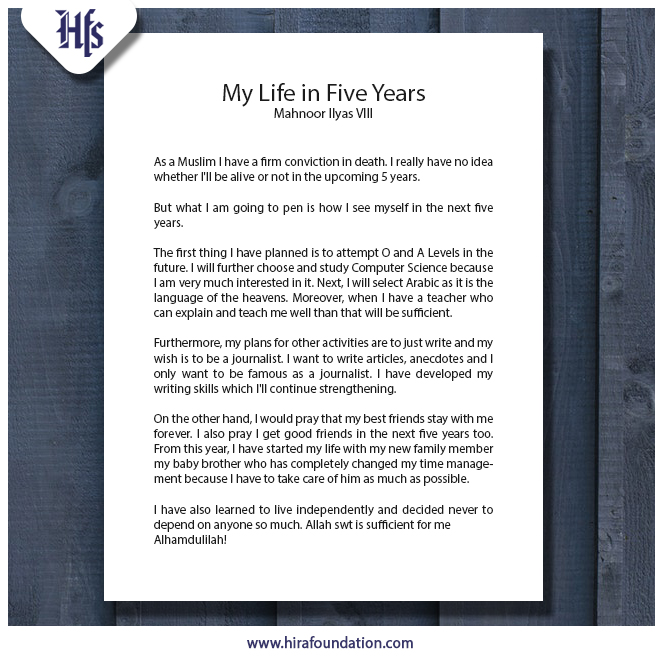 My Life in Five Years | Hira Foundation School
