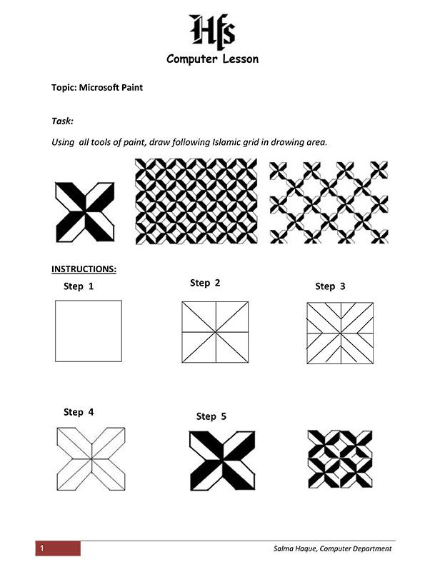 Computer Lesson 1 - Microsoft Paint- by Salma Haque